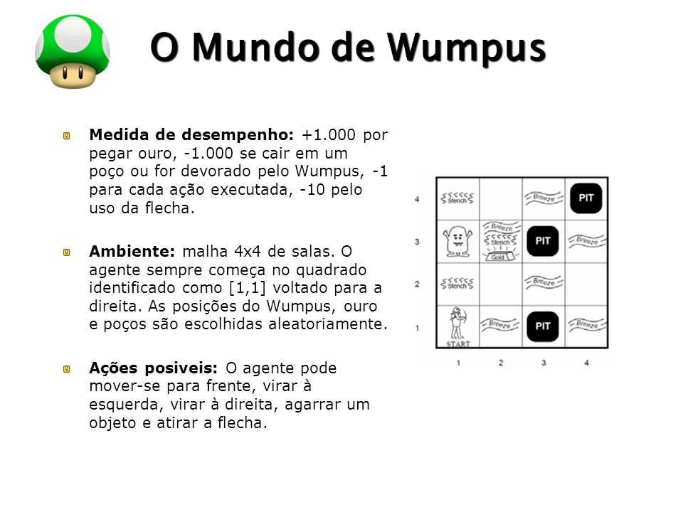 LOGO O Mundo de Wumpus Medida de desempenho: +1.000 por pegar ouro, -1.000 se cair em um poço ou for devorado pelo Wumpus, -1 para cada ação executada, -10 pelo uso da flecha.