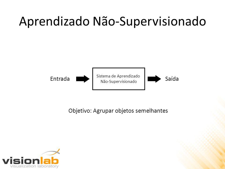 Aprendizado Não-Supervisionado Sistema de Aprendizado Não-Supervisionado EntradaSaída Objetivo: Agrupar objetos semelhantes