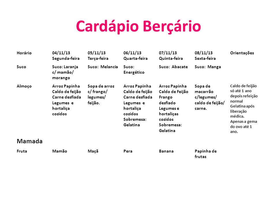 Cardápio Berçário Horário04/11/13 Segunda-feira 05/11/13 Terça-feira 06/11/13 Quarta-feira 07/11/13 Quinta-feira 08/11/13 Sexta-feira Orientações Suco