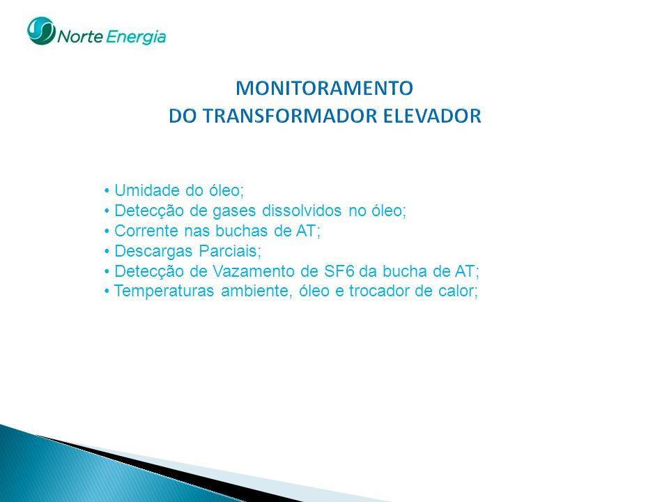 Umidade do óleo; Detecção de gases dissolvidos no óleo; Corrente nas buchas de AT; Descargas Parciais; Detecção de Vazamento de SF6 da bucha de AT; Te
