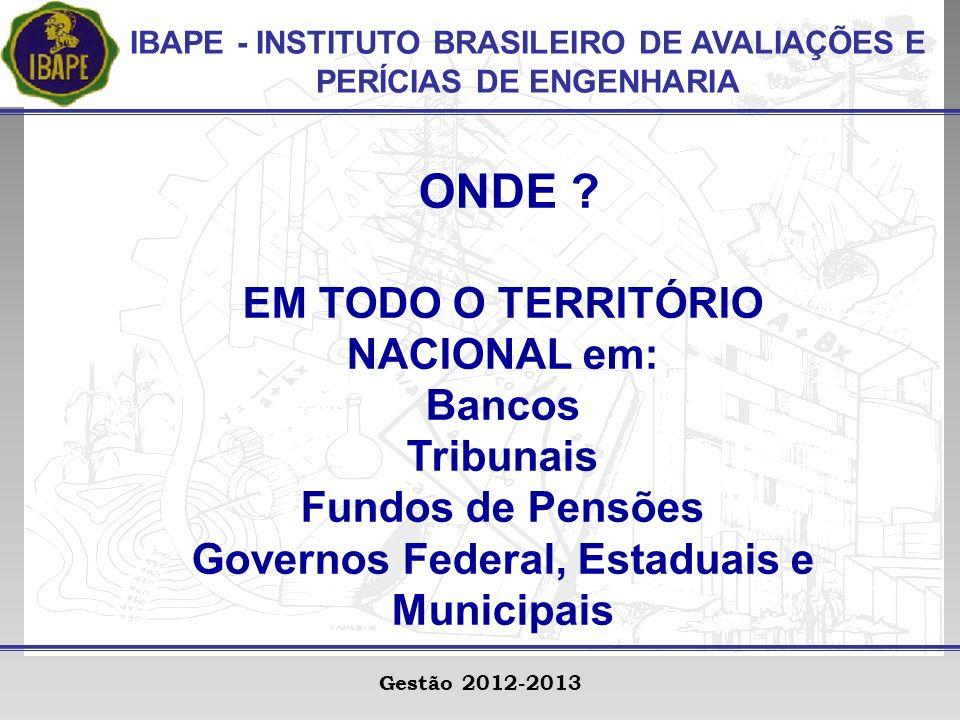 IBAPE - INSTITUTO BRASILEIRO DE AVALIAÇÕES E PERÍCIAS DE ENGENHARIA Gestão 2012-2013 ONDE .