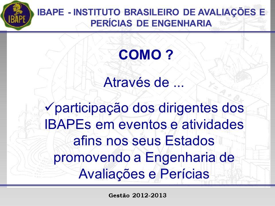 IBAPE - INSTITUTO BRASILEIRO DE AVALIAÇÕES E PERÍCIAS DE ENGENHARIA Gestão 2012-2013 COMO .