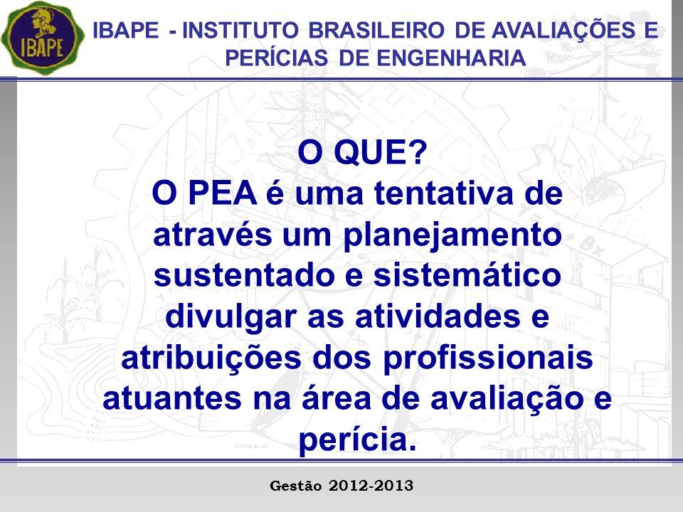 IBAPE - INSTITUTO BRASILEIRO DE AVALIAÇÕES E PERÍCIAS DE ENGENHARIA Gestão 2012-2013 O QUE.