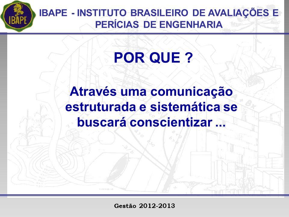 IBAPE - INSTITUTO BRASILEIRO DE AVALIAÇÕES E PERÍCIAS DE ENGENHARIA Gestão 2012-2013 POR QUE .
