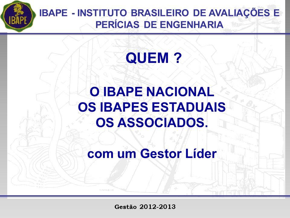 IBAPE - INSTITUTO BRASILEIRO DE AVALIAÇÕES E PERÍCIAS DE ENGENHARIA Gestão 2012-2013 QUEM .