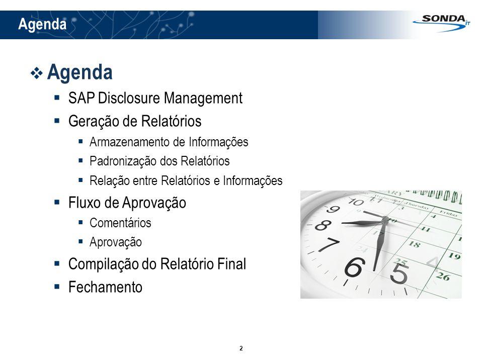 2 Agenda SAP Disclosure Management Geração de Relatórios Armazenamento de Informações Padronização dos Relatórios Relação entre Relatórios e Informaçõ