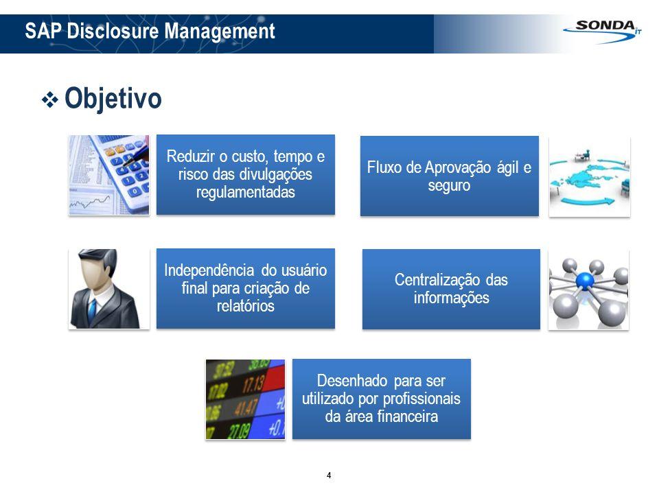4 Objetivo Reduzir o custo, tempo e risco das divulgações regulamentadas Fluxo de Aprovação ágil e seguro Independência do usuário final para criação