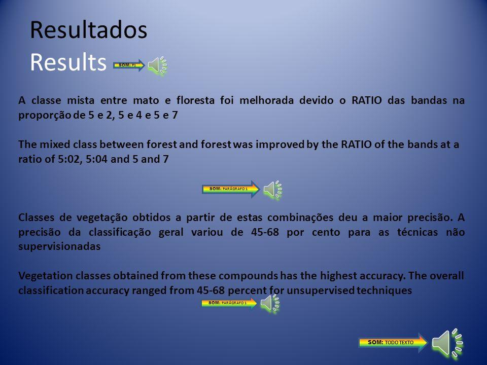 Resultados Results Os valores médios espectrais encontrados para diferentes classes de uso da terra mostram que a classificação contendo apenas bandas