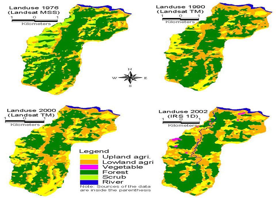 Resultados Results Tabela 4. Uso e ocupação da terra da bacia hidrográfica Galaudu, Nepal, 1976, 1990 e 2000. SOM: P1 FOREST SCRUB UPLAND AGRICULTURE