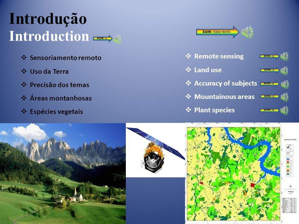 Introdução Introduction Sensoriamento remoto Uso da Terra Precisão dos temas Áreas montanhosas Espécies vegetais Remote sensing Land use Accuracy of subjects Mountainous areas Plant species SOM: TODO TEXTO SOM: L1 SOM: L2 SOM: L3 SOM: L4 SOM: L5 SOM: L6