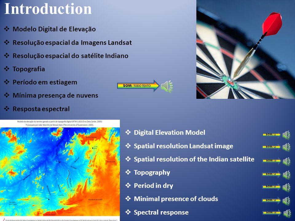 Introduction Modelo Digital de Elevação Resolução espacial da Imagens Landsat Resolução espacial do satélite Indiano Topografia Período em estiagem Mínima presença de nuvens Resposta espectral Digital Elevation Model Spatial resolution Landsat image Spatial resolution of the Indian satellite Topography Period in dry Minimal presence of clouds Spectral response SOM: TODO TEXTO SOM: L1 SOM: L2 SOM: L3 SOM: L4 SOM: L5 SOM: L6