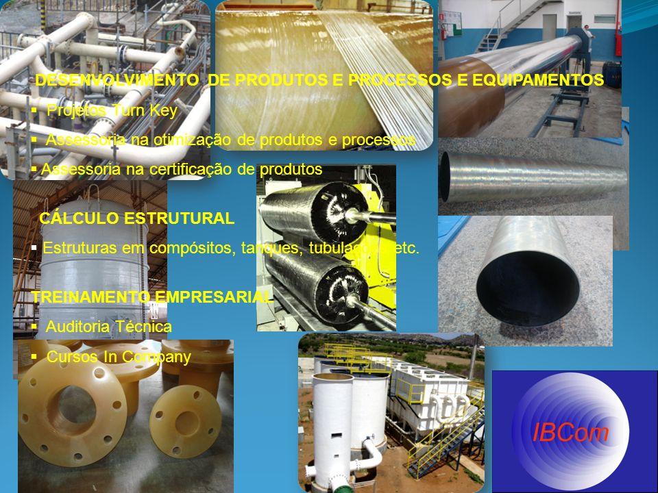 DESENVOLVIMENTO DE PRODUTOS E PROCESSOS E EQUIPAMENTOS Projetos Turn Key Assessoria na otimização de produtos e processos Assessoria na certificação de produtos CÁLCULO ESTRUTURAL Estruturas em compósitos, tanques, tubulações etc.