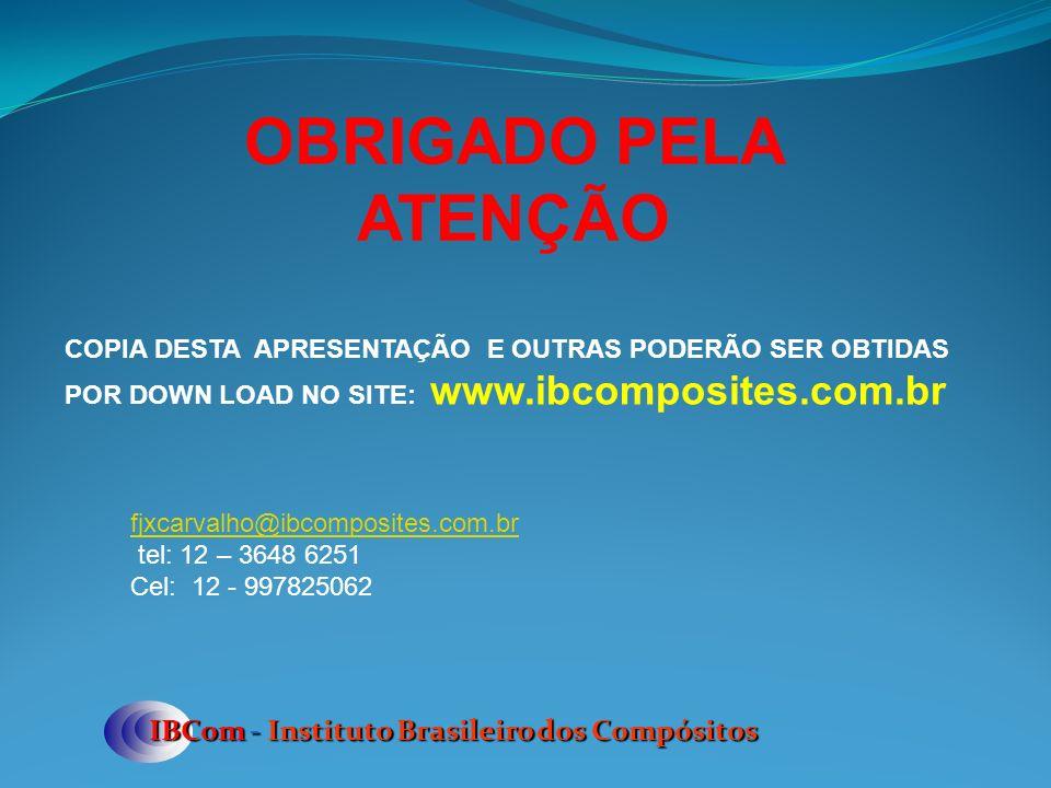 OBRIGADO PELA ATENÇÃO IBCom - Instituto Brasileiro dos Compósitos COPIA DESTA APRESENTAÇÃO E OUTRAS PODERÃO SER OBTIDAS POR DOWN LOAD NO SITE: www.ibcomposites.com.br fjxcarvalho@ibcomposites.com.br tel: 12 – 3648 6251 Cel: 12 - 997825062