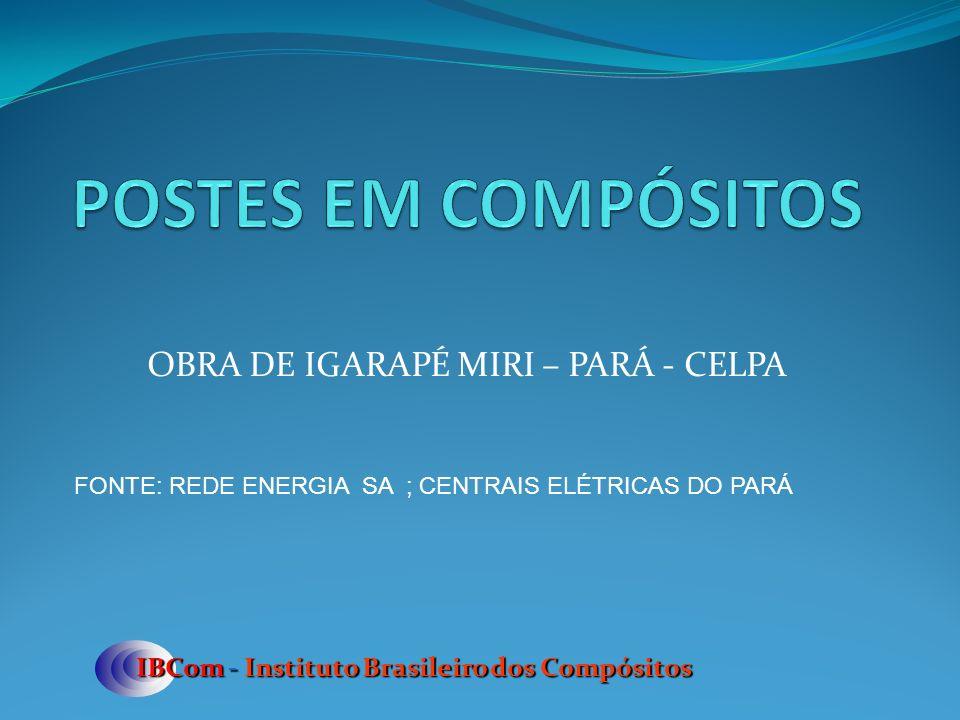 OBRA DE IGARAPÉ MIRI – PARÁ - CELPA IBCom - Instituto Brasileiro dos Compósitos FONTE: REDE ENERGIA SA ; CENTRAIS ELÉTRICAS DO PARÁ