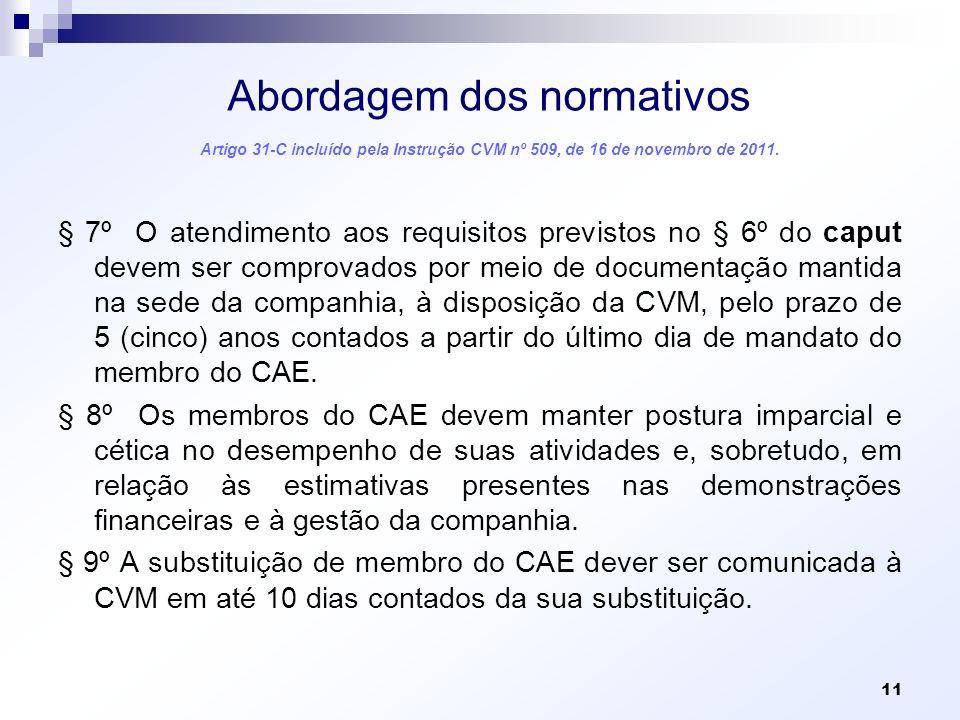 Abordagem dos normativos Artigo 31-C incluído pela Instrução CVM nº 509, de 16 de novembro de 2011. § 7º O atendimento aos requisitos previstos no § 6