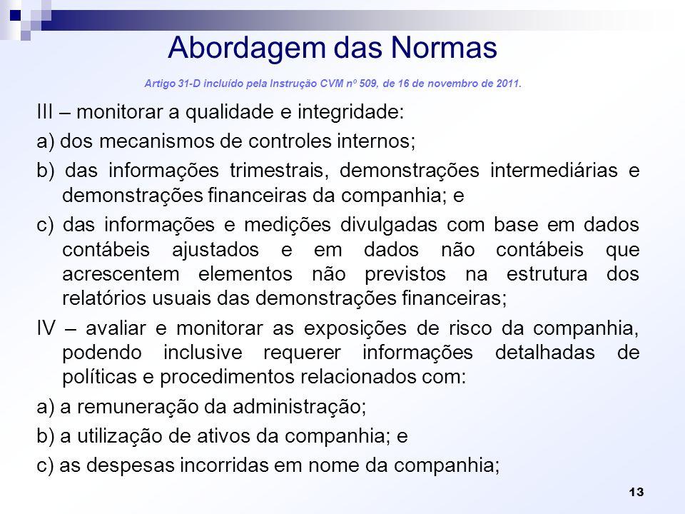 Abordagem das Normas Artigo 31-D incluído pela Instrução CVM nº 509, de 16 de novembro de 2011. III – monitorar a qualidade e integridade: a) dos meca