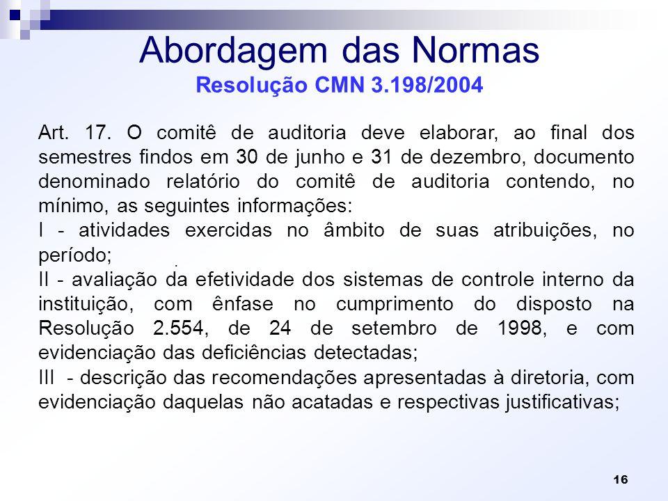 Abordagem das Normas Resolução CMN 3.198/2004 Art. 17. O comitê de auditoria deve elaborar, ao final dos semestres findos em 30 de junho e 31 de dezem