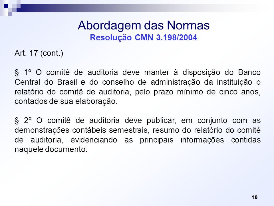 Abordagem das Normas Resolução CMN 3.198/2004 Art. 17 (cont.) § 1º O comitê de auditoria deve manter à disposição do Banco Central do Brasil e do cons
