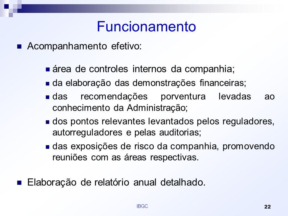 Funcionamento Acompanhamento efetivo: área de controles internos da companhia; da elaboração das demonstrações financeiras; das recomendações porventu