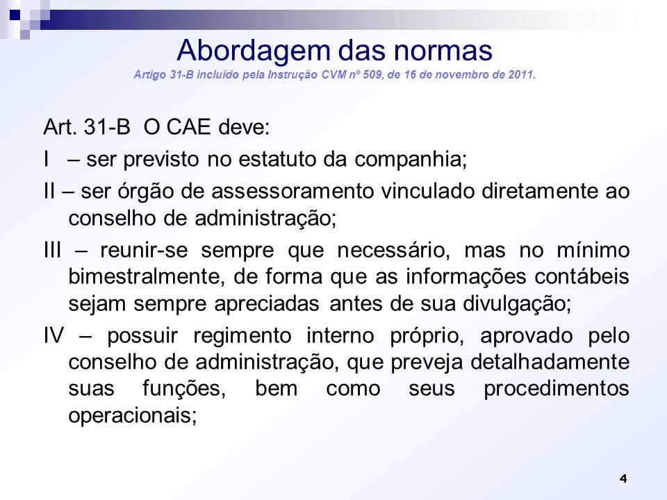 Abordagem das normas Artigo 31-B incluído pela Instrução CVM nº 509, de 16 de novembro de 2011. Art. 31-B O CAE deve: I – ser previsto no estatuto da