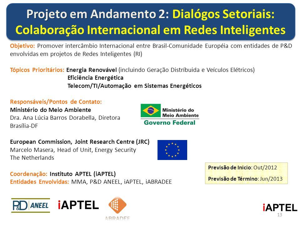 Objetivo: Promover intercâmbio Internacional entre Brasil-Comunidade Européia com entidades de P&D envolvidas em projetos de Redes Inteligentes (RI) T