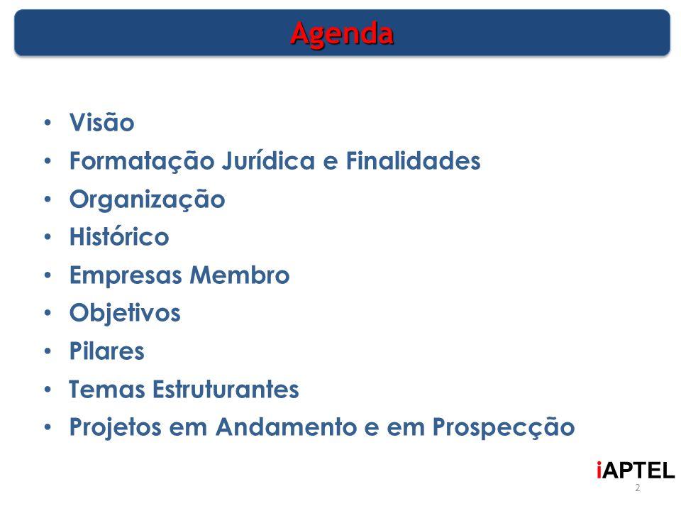 AgendaAgenda Visão Formatação Jurídica e Finalidades Organização Histórico Empresas Membro Objetivos Pilares Temas Estruturantes Projetos em Andamento
