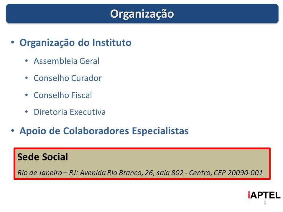 5 i APTEL OrganizaçãoOrganização Organização do Instituto Assembleia Geral Conselho Curador Conselho Fiscal Diretoria Executiva Apoio de Colaboradores