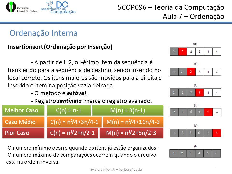 5COP096 – Teoria da Computação Aula 7 – Ordenação Ordenação Interna Sylvio Barbon Jr – barbon@uel.br 12 Insertionsort (Ordenação por Inserção) - A par