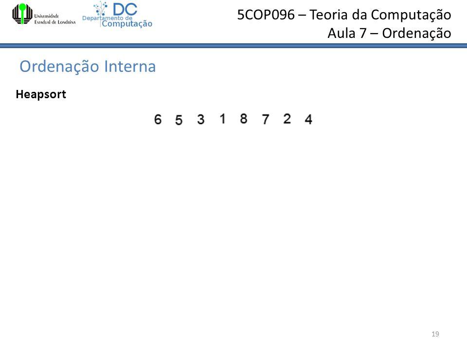 5COP096 – Teoria da Computação Aula 7 – Ordenação Ordenação Interna 19 Heapsort