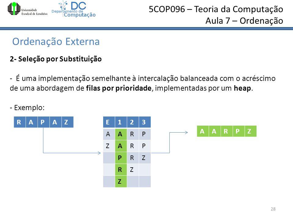 5COP096 – Teoria da Computação Aula 7 – Ordenação Ordenação Externa 28 2- Seleção por Substituição - É uma implementação semelhante à intercalação bal