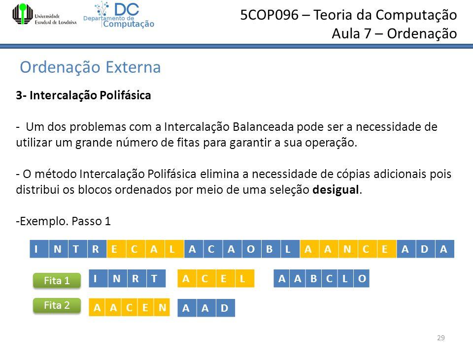 5COP096 – Teoria da Computação Aula 7 – Ordenação Ordenação Externa 29 3- Intercalação Polifásica - Um dos problemas com a Intercalação Balanceada pod