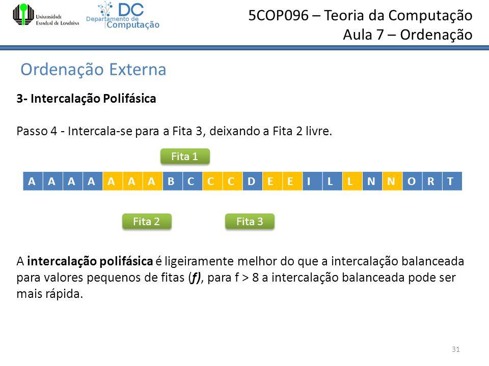 5COP096 – Teoria da Computação Aula 7 – Ordenação Ordenação Externa 31 3- Intercalação Polifásica Passo 4 - Intercala-se para a Fita 3, deixando a Fit