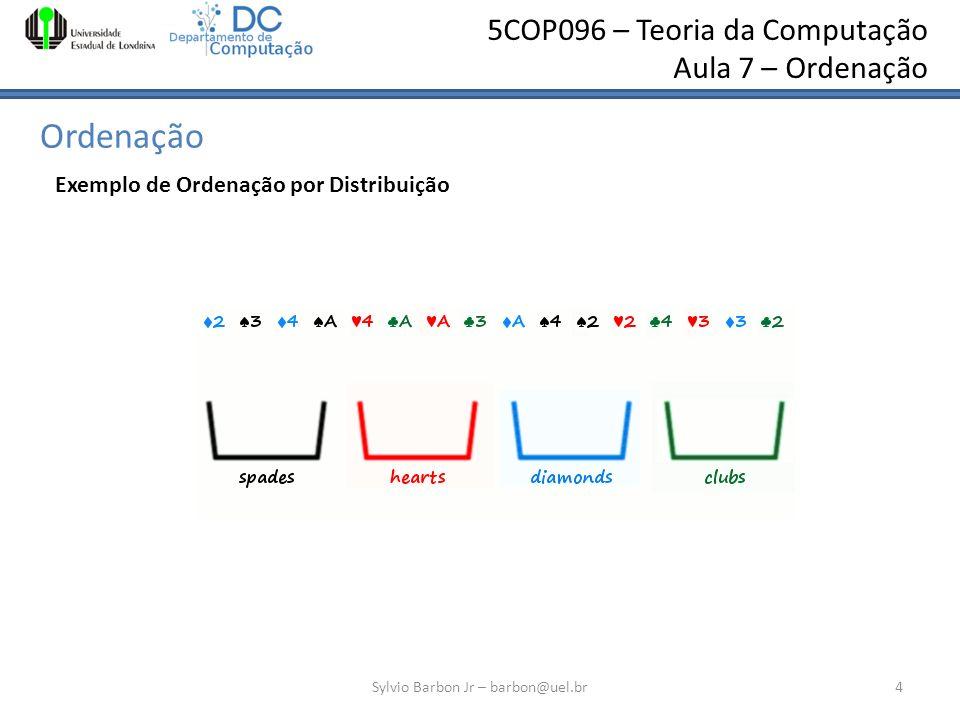 5COP096 – Teoria da Computação Aula 7 – Ordenação Ordenação Sylvio Barbon Jr – barbon@uel.br4 Exemplo de Ordenação por Distribuição