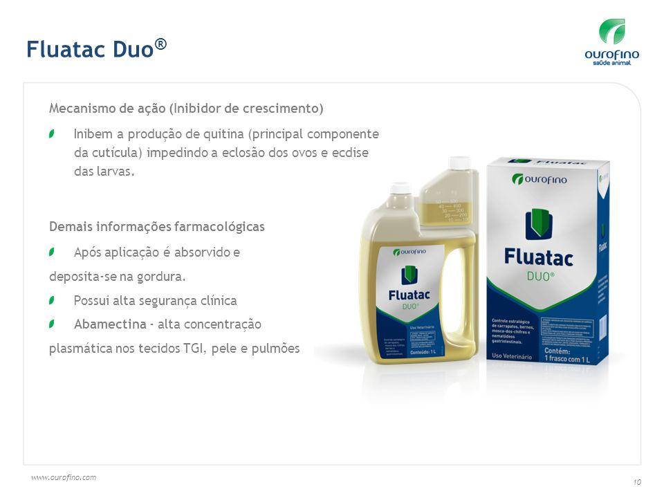 www.ourofino.com 10 Mecanismo de ação (Inibidor de crescimento) Inibem a produção de quitina (principal componente da cutícula) impedindo a eclosão do