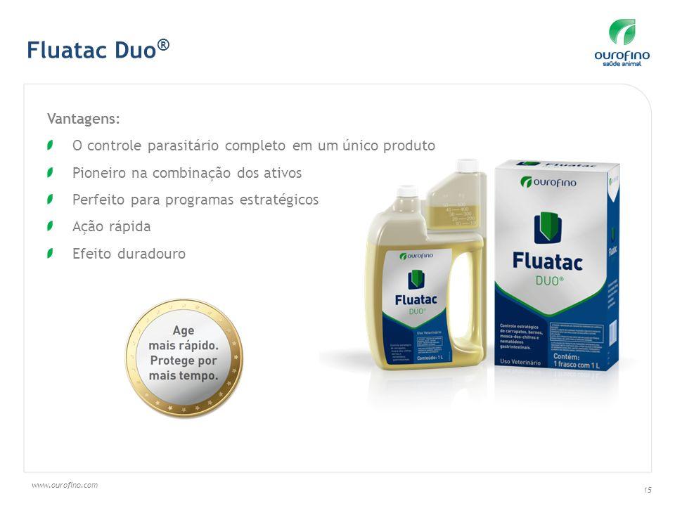 www.ourofino.com 15 Vantagens: O controle parasitário completo em um único produto Pioneiro na combinação dos ativos Perfeito para programas estratégicos Ação rápida Efeito duradouro Fluatac Duo ®