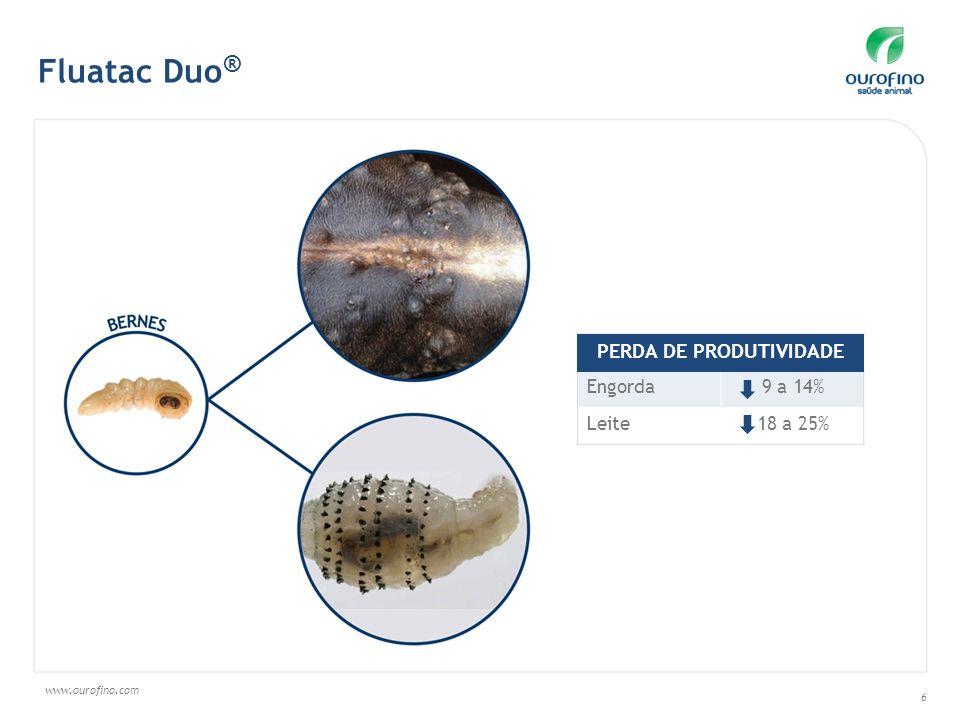 www.ourofino.com 6 Engorda9 a 14% Leite18 a 25% PERDA DE PRODUTIVIDADE Fluatac Duo ®
