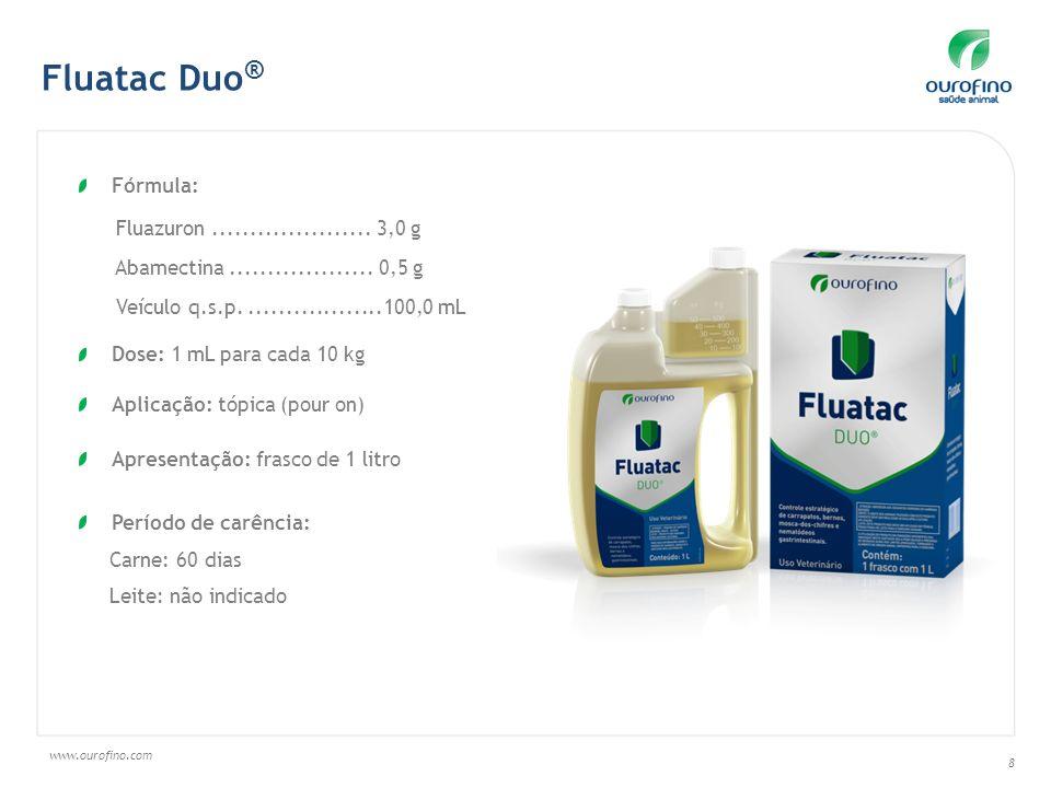 www.ourofino.com 8 Fluatac Duo ® Fórmula: Fluazuron..................... 3,0 g Abamectina................... 0,5 g Veículo q.s.p...................100