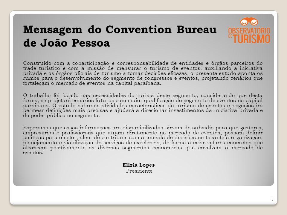 Mensagem do Convention Bureau de João Pessoa Construído com a coparticipação e corresponsabilidade de entidades e órgãos parceiros do trade turístico