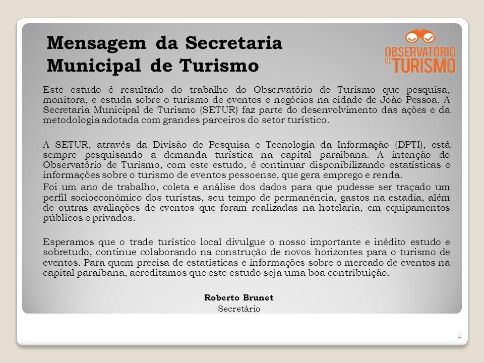Mensagem da Secretaria Municipal de Turismo Este estudo é resultado do trabalho do Observatório de Turismo que pesquisa, monitora, e estuda sobre o tu