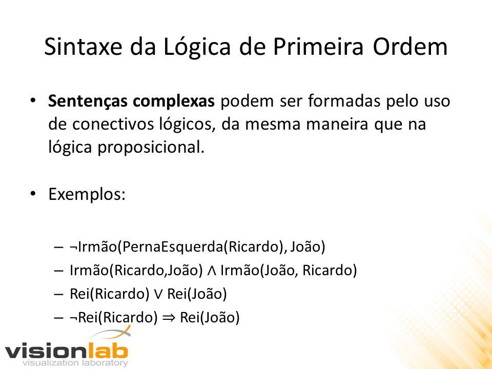 Sintaxe da Lógica de Primeira Ordem Sentenças complexas podem ser formadas pelo uso de conectivos lógicos, da mesma maneira que na lógica proposiciona