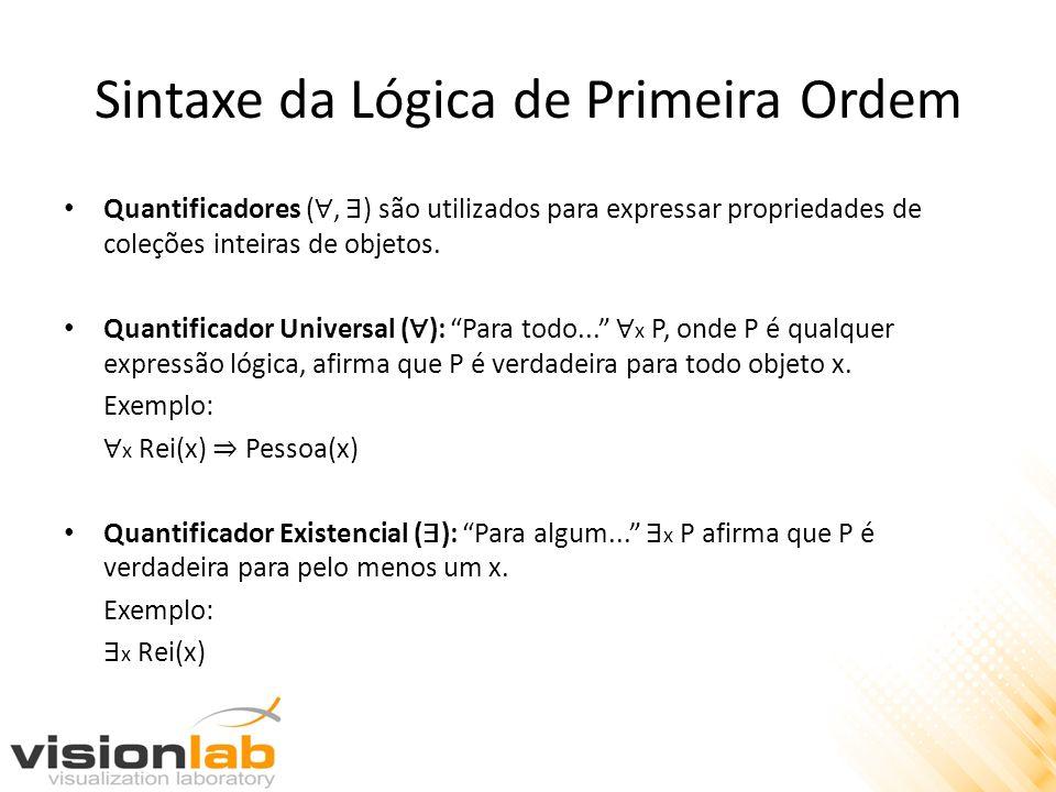 Sintaxe da Lógica de Primeira Ordem Quantificadores (, ) são utilizados para expressar propriedades de coleções inteiras de objetos. Quantificador Uni
