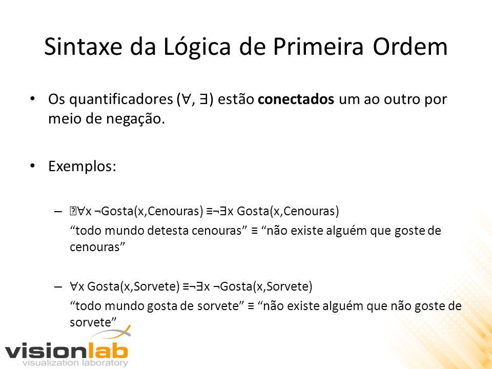 Sintaxe da Lógica de Primeira Ordem Os quantificadores (, ) estão conectados um ao outro por meio de negação. Exemplos: – … x ¬Gosta(x,Cenouras) ¬ x G