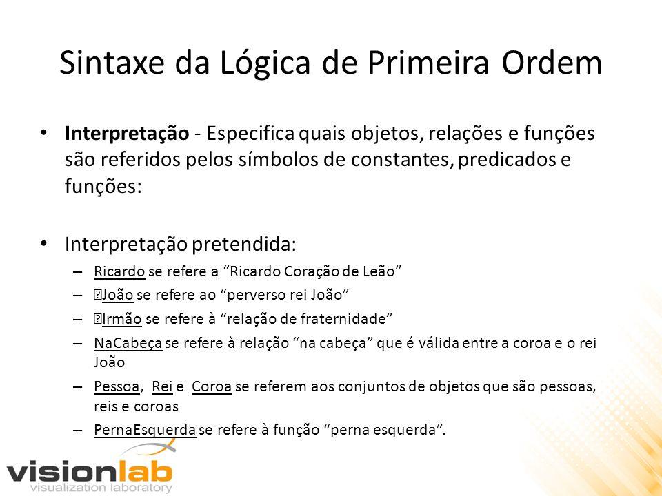 Sintaxe da Lógica de Primeira Ordem Interpretação - Especifica quais objetos, relações e funções são referidos pelos símbolos de constantes, predicado