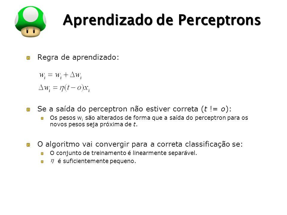 LOGO Aprendizado de Perceptrons Regra de aprendizado: Se a saída do perceptron não estiver correta (t != o): Os pesos w i são alterados de forma que a