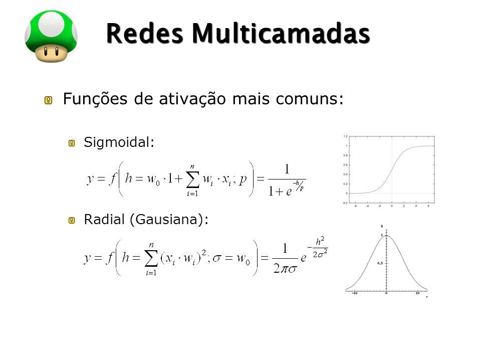 LOGO Redes Multicamadas Funções de ativação mais comuns: Sigmoidal: Radial (Gausiana):