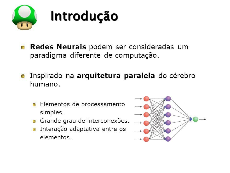 LOGO Introdução Redes Neurais podem ser consideradas um paradigma diferente de computação. Inspirado na arquitetura paralela do cérebro humano. Elemen