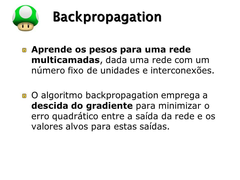LOGO Backpropagation Aprende os pesos para uma rede multicamadas, dada uma rede com um número fixo de unidades e interconexões. O algoritmo backpropag
