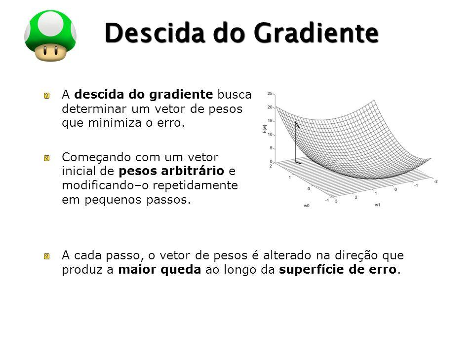 LOGO Descida do Gradiente A descida do gradiente busca determinar um vetor de pesos que minimiza o erro. Começando com um vetor inicial de pesos arbit