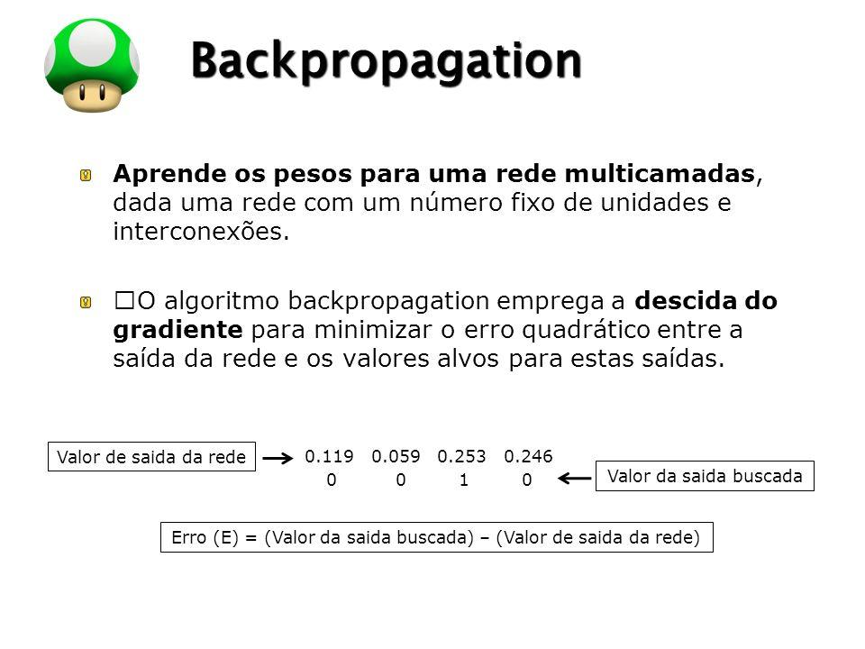 """LOGO Backpropagation Aprende os pesos para uma rede multicamadas, dada uma rede com um número fixo de unidades e interconexões. """"O algoritmo backpropa"""