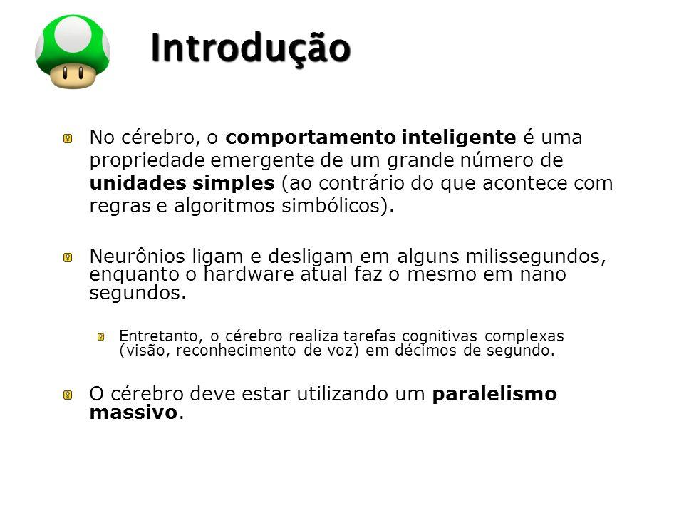 LOGO Introdução No cérebro, o comportamento inteligente é uma propriedade emergente de um grande número de unidades simples (ao contrário do que acont